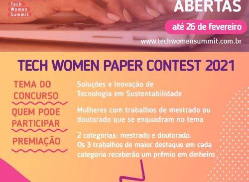 INSCRIÇÕES ABERTAS PARA O TECH WOMEN PAPER CONTEST 2021
